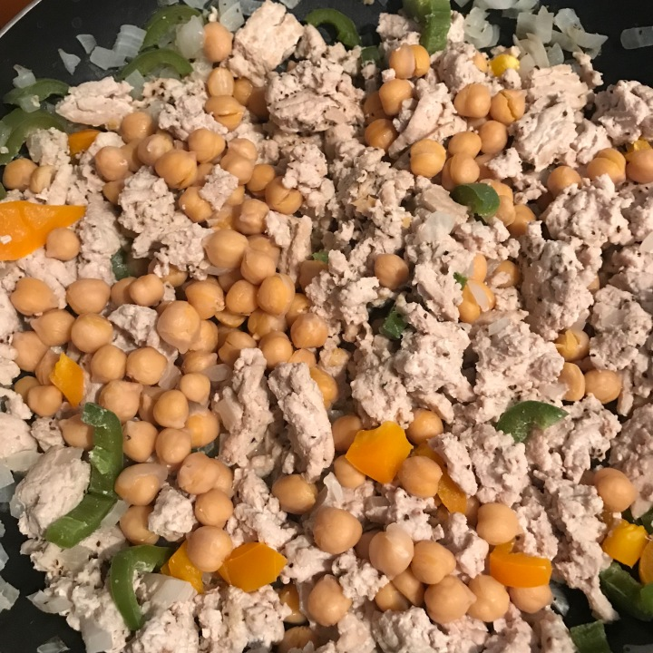 organic ground turkey, no-salt garbanzo beans, jalapeño, onion, orange bell pepper