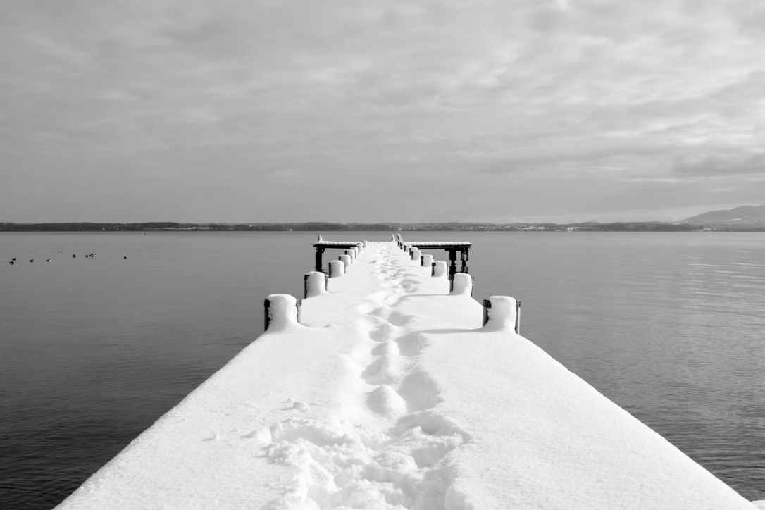 black and white boardwalk boat bridge